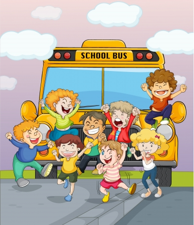 female child: Illustration of happy children jumping for joy near a school bus