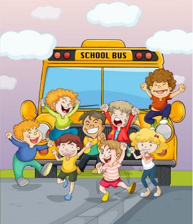 ni�o dibujo animado: Ilustraci�n de ni�os felices saltando de alegr�a junto a un autob�s escolar Vectores