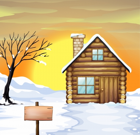 log: Illustration of a log cabin and dead tree on a snowy field