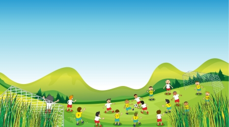 school yard: Illustration of children playing on an open field on a sunny day.