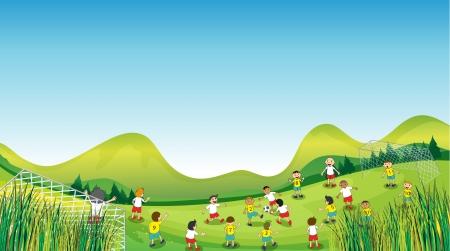 patio escuela: Ilustraci�n de los ni�os jugando en un campo abierto en un d�a soleado.