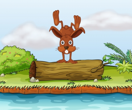 Illustration of a rabbit playing on a piece of log. Vector