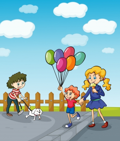Illustration of a girl with a puppy and a mother and child strolling in the park Vector