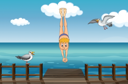 Illustration of a young gentleman diving and two sea birds Vector