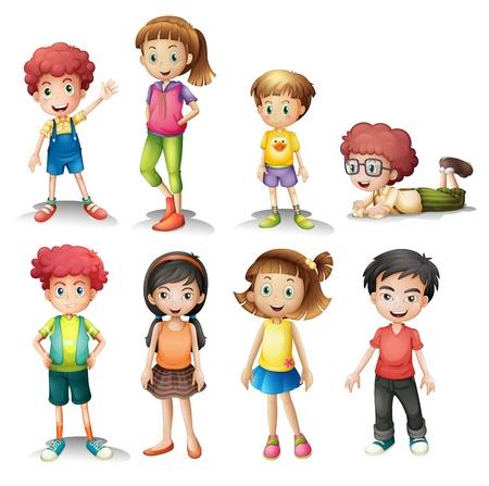 kurz: Illustration einer Gruppe von Kindern auf einem wei�en Hintergrund