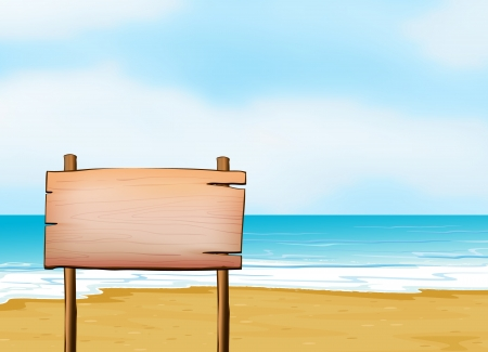 Illustration of a blank signpost on a beach. Vector