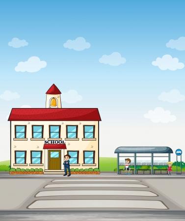 Illustratie van een school en bushalte met mensen ernaast.