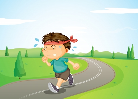 angry sky: Illustration of a young boy jogging in the street Illustration