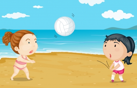 children swimming: Illustration of two girls playing volleyball in the seashore
