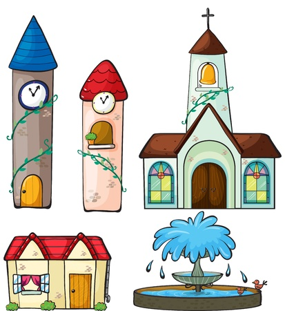 Illustration of two clock tower, a church, a house and a fountain on a white background Çizim