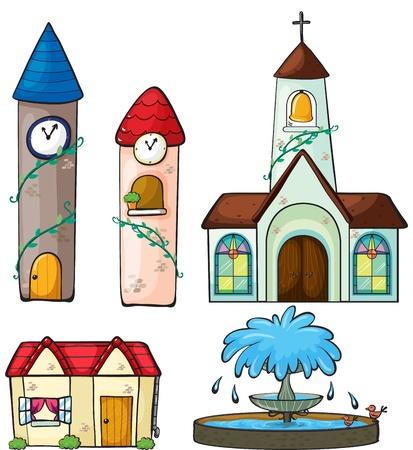 window church: Illustrazione di due torre dell'orologio, una chiesa, una casa e una fontana su uno sfondo bianco