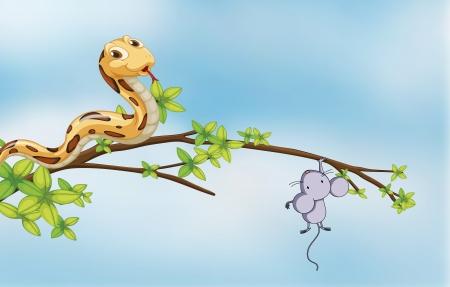 serpiente caricatura: Ilustración de una presa y un depredador en un árbol Vectores