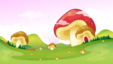 bewitched: Illustration of big and small mushrooms  Illustration