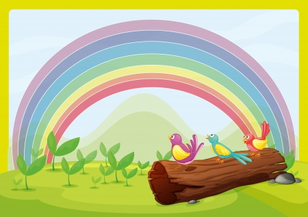 Illustration of birds watching the rainbow Stock Vector - 17339114