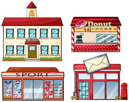 kiosk: Illustration of a school, donut store, sport shop and a post office on a white background