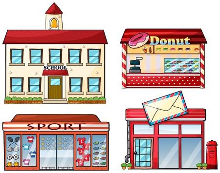 Illustrazione di una scuola, ciambella negozio, sport negozio e un ufficio postale su uno sfondo bianco