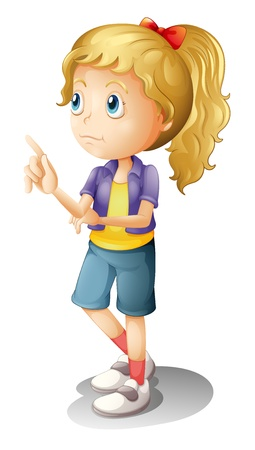 girl thinking: Illustration of a blonde girl thinking Illustration