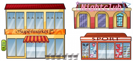 super market: Illustration of a supermarket, night club and sport shop on a white background