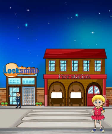 Illustration of a kid standing before a locksmith and fire station Vector