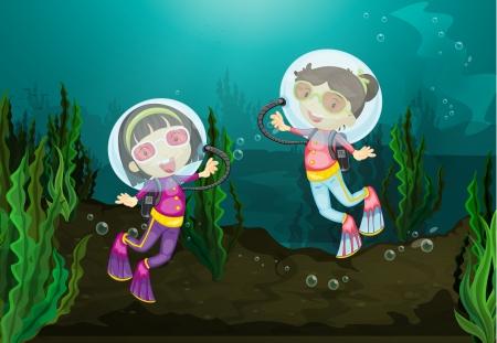 wet girl: Illustration of two happy girls scuba diving underwater Illustration