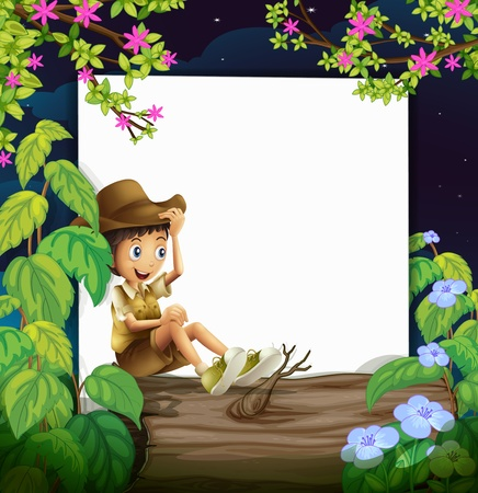 log: Illustration of a boy sitting on a log with nature and white as background