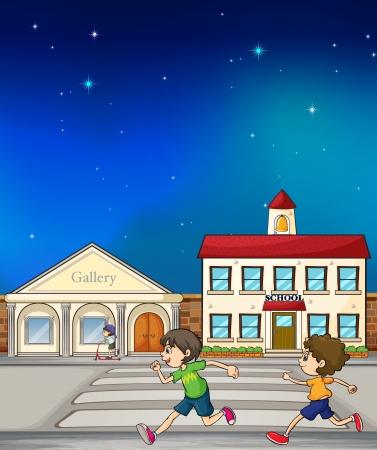 pedestrian walkway: Illustration of kids running in the street Illustration
