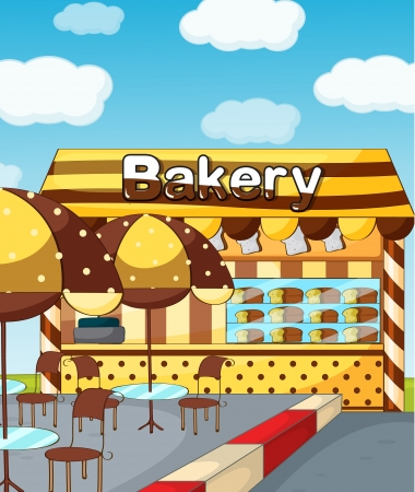 delighted: Illustration of a bakery store under a clear blue sky Illustration