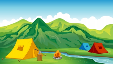 Illustration of camping tents near the mountain