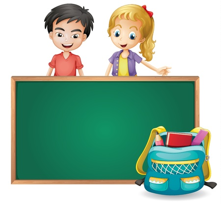 Illustration of a young girl with a young boy on a white background Vector