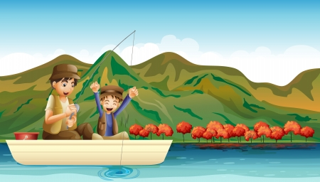 fishing scene: Illustration of a man and a young boy having fun while fishing