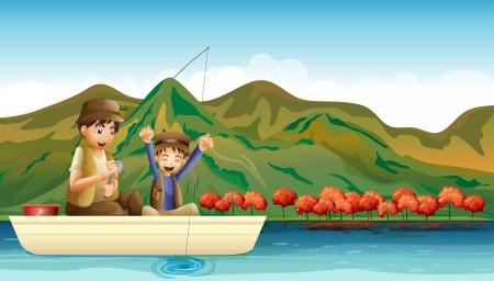 recursos naturales: Ilustración de un hombre y un muchacho joven que se divierte mientras que la pesca Vectores
