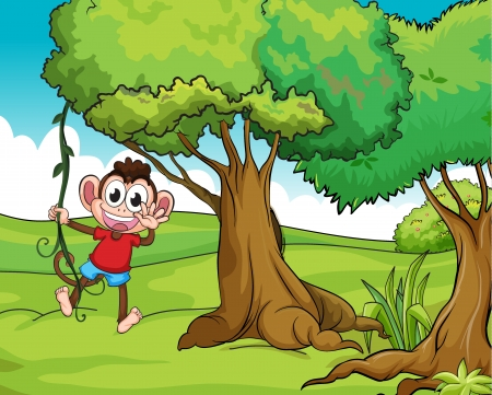 Illustration of a monkey on a tree Stock Vector - 17338993