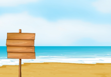 Illustration of a blank wooden signboard in the seashore Vector