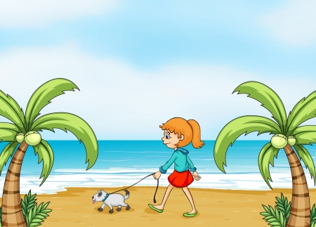 Illustration of a girl walking with her dog in the seashore