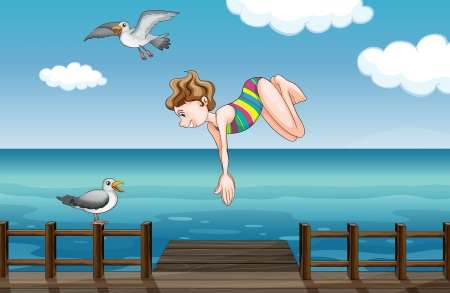 sky dive: Illustration of a young girl diving with a bird