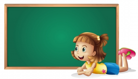 Illustration of a little girl and a board on a white background Vector