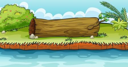 beside: Illustration of a big trunk beside a pond