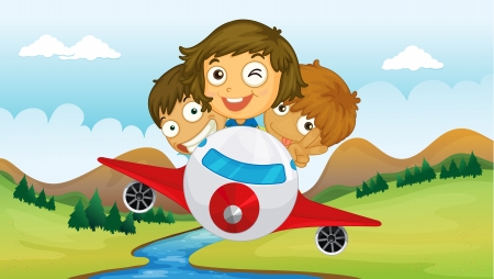 ni�os divirtiendose: Ilustraci�n de los ni�os se divierten mientras viajaba en un avi�n