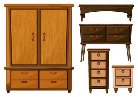 гардероб: Иллюстрация мебель из дерева на белом фоне Иллюстрация