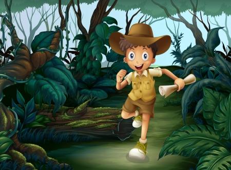 Illustratie van een jonge jongen die in het midden van de bossen