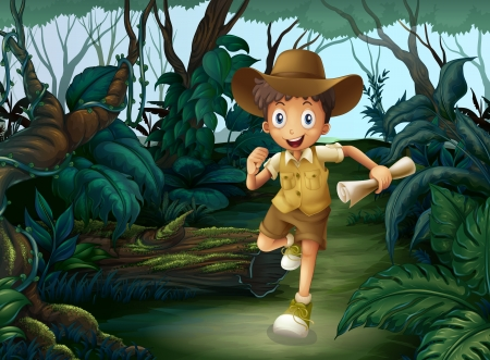 exploring: Illustration of a young boy running in the middle of the woods