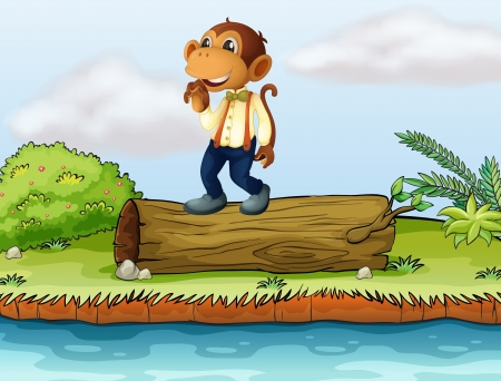 Illustration of a monkey standing on a log Stock Vector - 17339094
