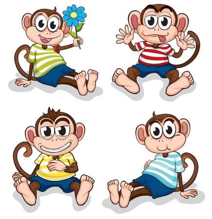 monos: Ilustración de monos con diferentes expresiones faciales en un fondo blanco