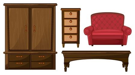 armarios: Ilustraci�n de un armario, caj�n, una mesa y un sof� en un fondo blanco