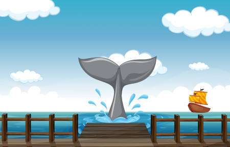 Illustration of a tail of a whale Vector