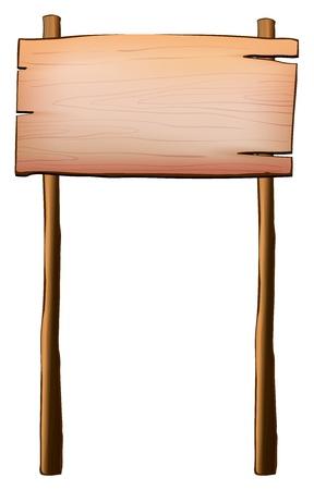 Illustration d'un panneau vide en bois avec deux messages sur un fond blanc