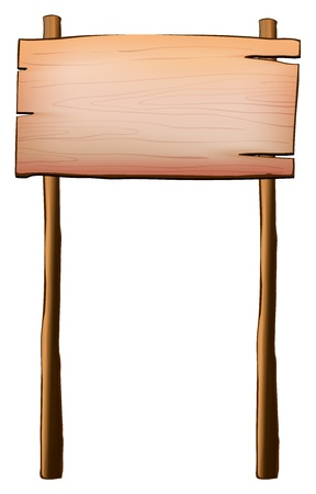 rectangle frame: Illustration of an empty signboard made of wood with two posts on a white background