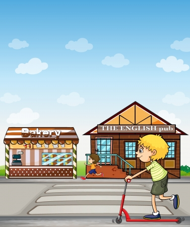 Illustration of children playing beside a bakery and pub. Vector