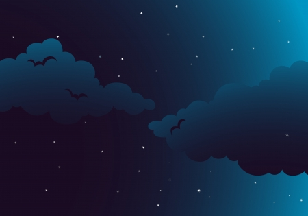nighttime: Illustration of a peaceful night with clouds, stars, sky and birds