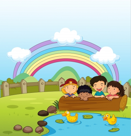 Illustration of kids watching the ducklings in the pond Vector